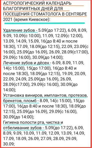 АСТРОЛОГИЧЕСКИЙ КАЛЕНДАРЬ БЛАГОПРИЯТНЫХ ДНЕЙ ДЛЯ ПОСЕЩЕНИЯ СТОМАТОЛОГА В СЕНТЯБРЕ 2021 (время Киевское)