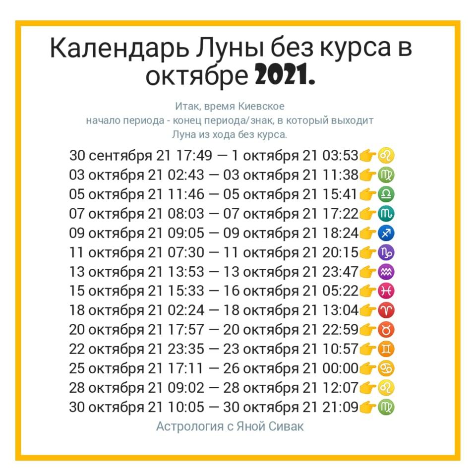 Календарь Луны без курса на октябрь 2021.